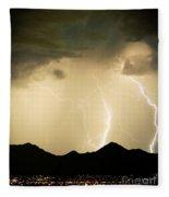 Midnight Lightning Storm Fleece Blanket