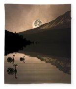Midnight Moods Swan Lake In The Moonlight Fleece Blanket
