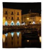 Midnight Silence And Solitude - Syracuse Sicily Illuminated Waterfront Fleece Blanket