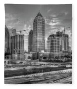 Midtown Atlanta Dusk B W Atlanta Construction Art Fleece Blanket
