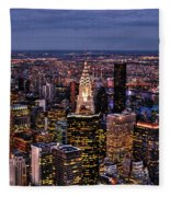 Midtown Skyline At Dusk Fleece Blanket