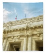 Milan Italy Train Station Facade Fleece Blanket