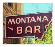 Miles City, Montana - Bar Neon Fleece Blanket