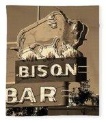 Miles City, Montana - Bison Bar Sepia Fleece Blanket