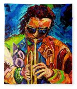 Miles Davis Hot Jazz Portraits By Carole Spandau Fleece Blanket