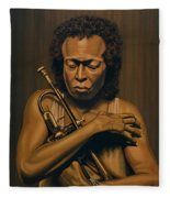 Miles Davis Painting Fleece Blanket