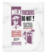 Vintage Milk Trucker Fda Warning  Fleece Blanket
