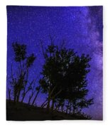 Milky Way And Silhouette Trees At Bruneau Dunes State Park Idaho Fleece Blanket