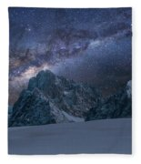 Milky Way On Italian Dolomites Fleece Blanket