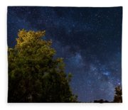 Milky Way Over The Forest At The Troodos Mountains In Cyprus. Fleece Blanket