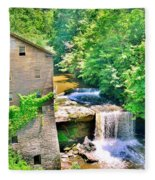 Mill Creek Park Lanterman's Mill And Covered Bridge Fleece Blanket