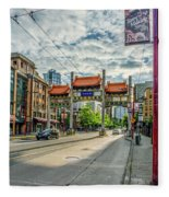 Millennium Gate In Vancouver Chinatown, Canada Fleece Blanket