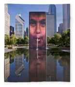 Millennium Park Fountain And Chicago Skyline Fleece Blanket