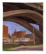 Miller Brewery Viewed Under Bridge Fleece Blanket