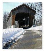Millrace Park Old Covered Bridge - Columbus Indiana Fleece Blanket