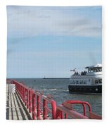 Milwaukee Harbor And Boat Fleece Blanket