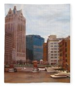 Milwaukee River View Fleece Blanket