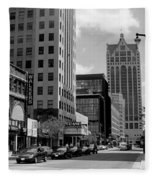 Milwaukee Street Scene B-w Fleece Blanket