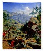 Miners In The Sierras Fleece Blanket