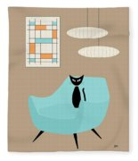 Mini Abstract With Blue Chair Fleece Blanket