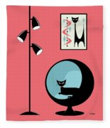 Shower Curtain Mini Atomic Cat On Pink  Fleece Blanket