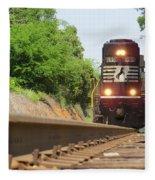 Mini Train Moves Down The Track Fleece Blanket