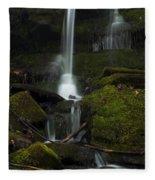 Mini Waterfall In The Forest Fleece Blanket