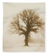 Minimal Winter Tree Fleece Blanket