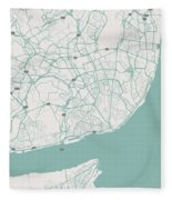 Minimalist Artistic Map Of Lisbon, Portugal 3 Fleece Blanket