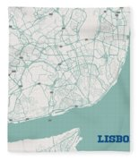 Minimalist Artistic Map Of Lisbon, Portugal 3a Fleece Blanket