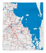 Minimalist Modern Map Of Brisbane, Australia 6 Fleece Blanket
