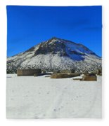 Mining Ruins Foreground A Snowy Mountain Fleece Blanket