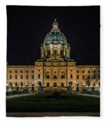 Minnesota Capital At Night Fleece Blanket