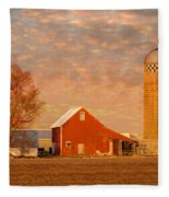 Minnesota Farm At Sunset Fleece Blanket