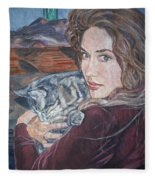 Misha The Cat Woman Fleece Blanket