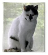 Miss Jerrie Cat With Watercolor Effect Fleece Blanket