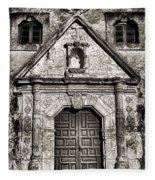 Mission Concepcion Front - Toned Bw Fleece Blanket