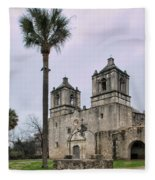 Mission Concepcion With Well And Tree Fleece Blanket