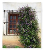 Mission Window With Purple Flowers Fleece Blanket