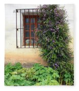 Mission Window With Purple Flowers Vertical Fleece Blanket