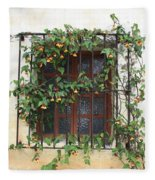 Mission Window With Yellow Flowers Fleece Blanket
