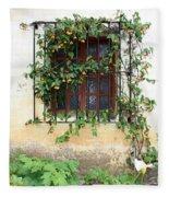 Mission Window With Yellow Flowers Vertical Fleece Blanket