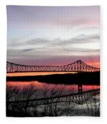 Mississippi River At Savanna Fleece Blanket