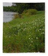 Mississippi River Bank Flowers Fleece Blanket