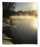 Mississippi River Bank Sunrise Fleece Blanket
