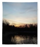 Mississippi River Colorful Dawn Clouds Fleece Blanket