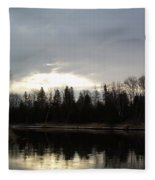 Mississippi River Dawn Clouds Fleece Blanket