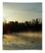 Mississippi River Dawn Light Rays Fleece Blanket