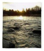 Mississippi River Dawn Reflection Fleece Blanket