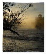 Mississippi River Foggy June Sunrise Fleece Blanket